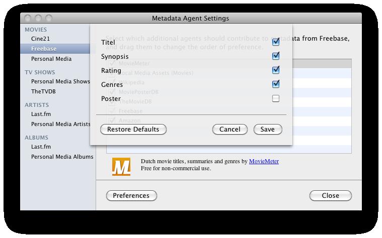 Screenshot Moviemeter-plugin voor Plex 2