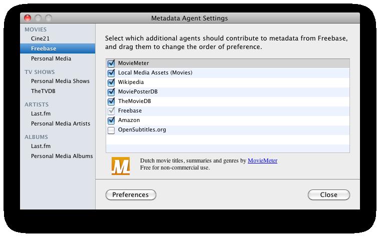 Screenshot Moviemeter-plugin voor Plex