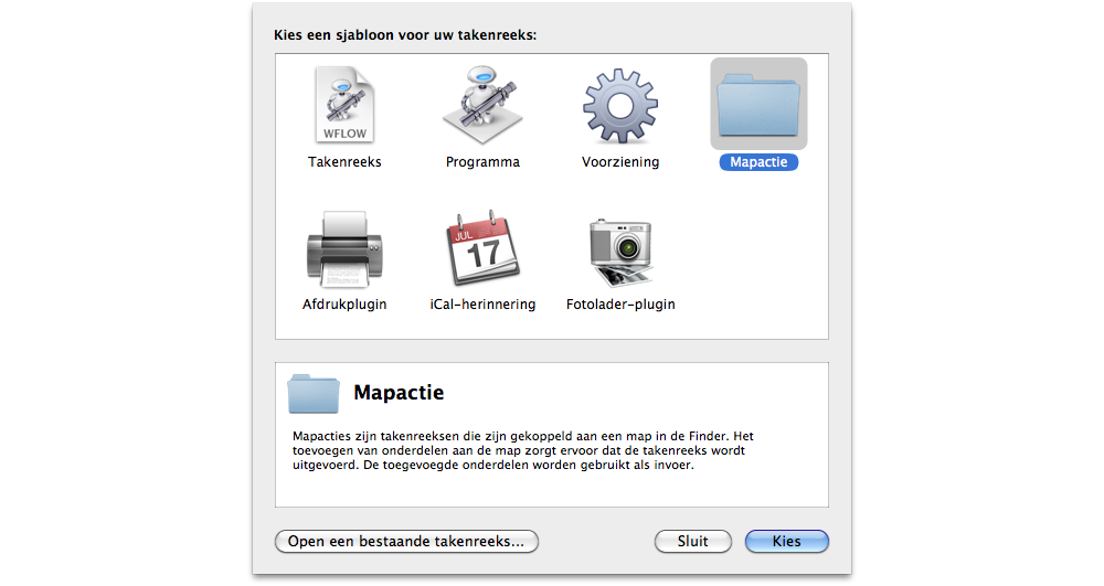 Automator beginscherm mapactie folder azction