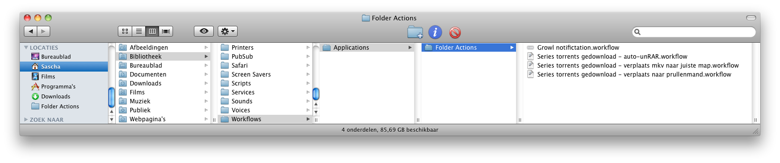 Automator folder actions Finder locatie
