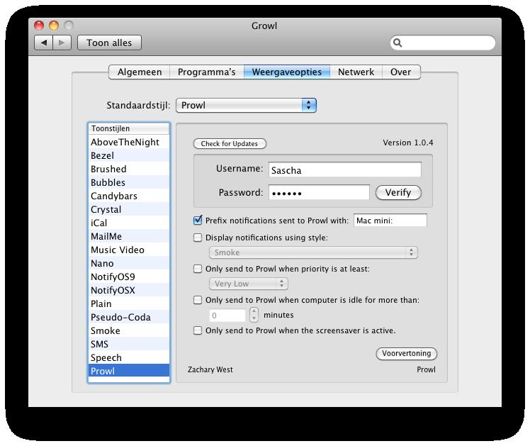 Screenshot Prowl Systeemvoorkeuren